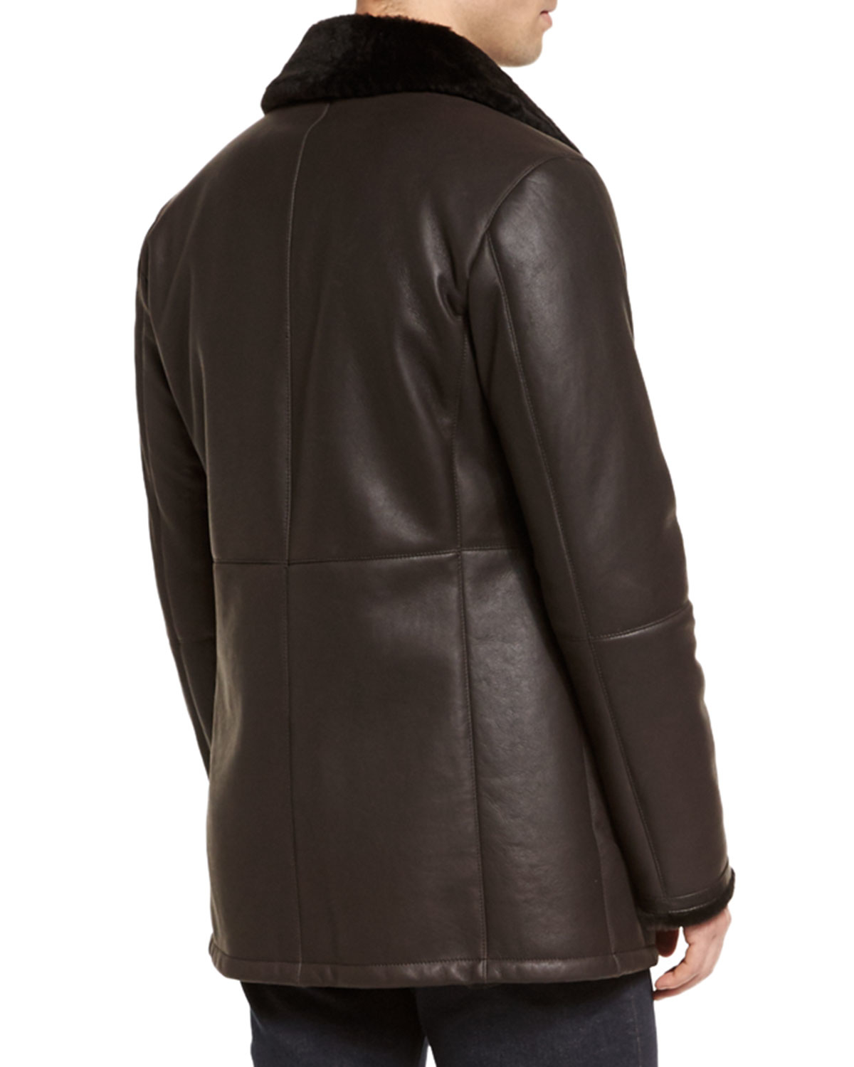 edffb71a Ermenegildo Zegna Brown Leather Jacket With Shearling Fur-lined Collar for  men