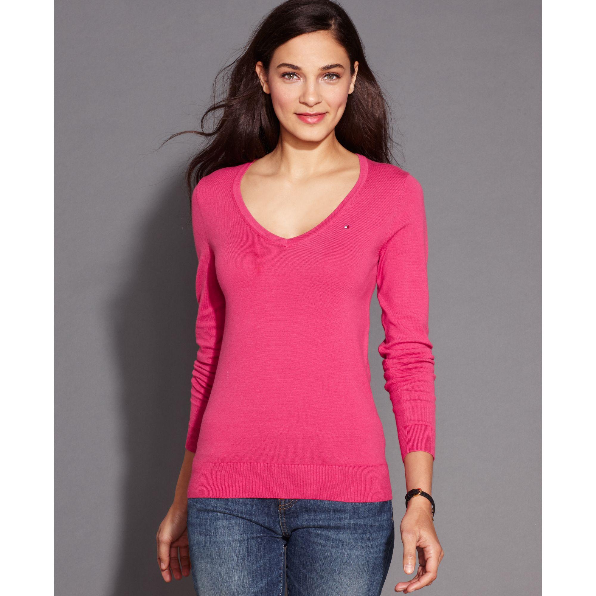 tommy hilfiger long sleeve v neck sweater in pink lyst. Black Bedroom Furniture Sets. Home Design Ideas