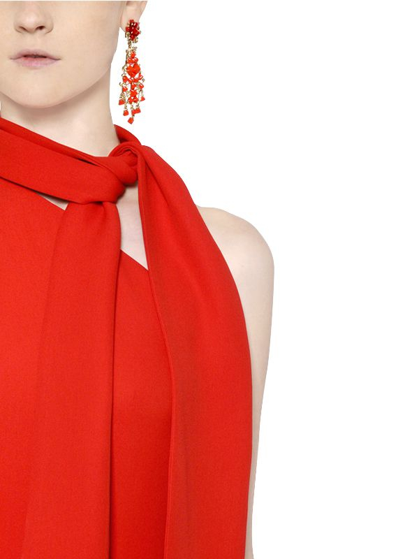 2b4bdde47d5 Lyst - Valentino Silk Cady One Shoulder Jumpsuit in Red