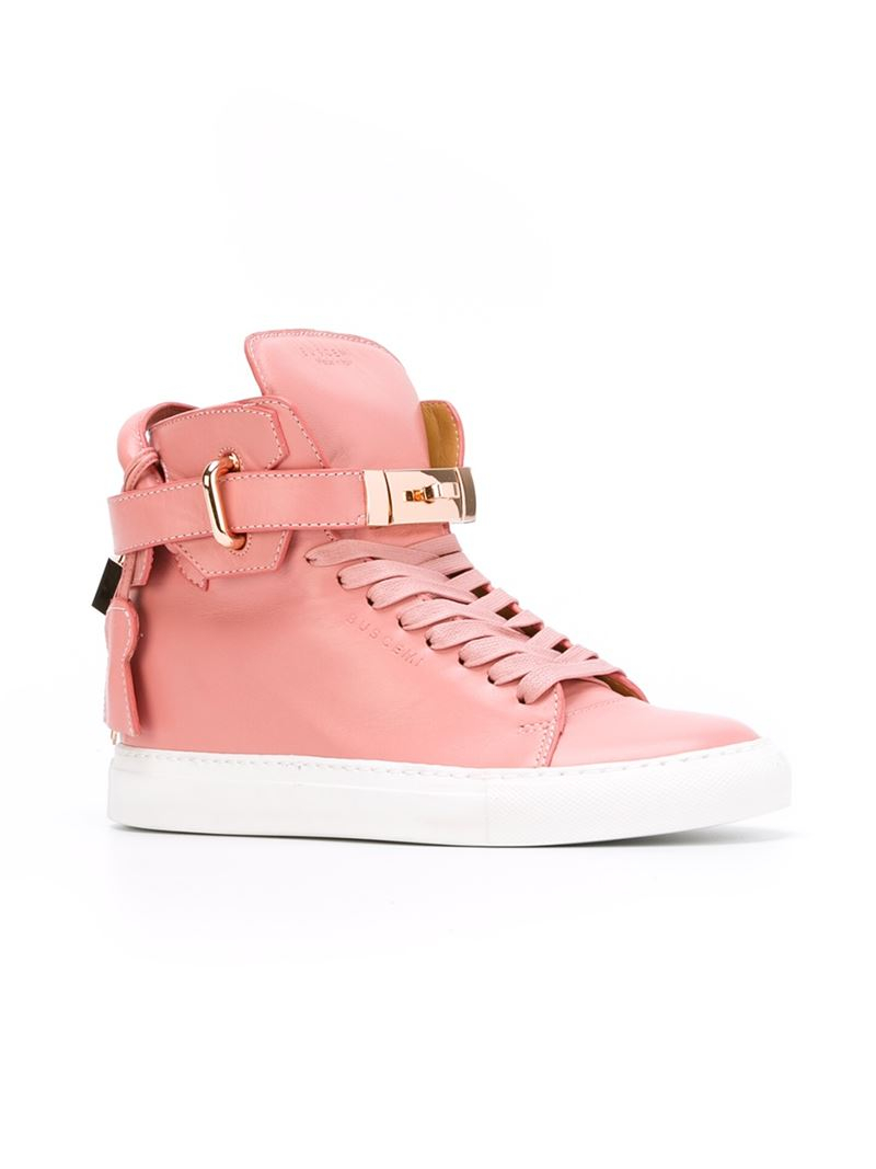 Buscemi Leather Key And Padlock Hi-top Sneakers in Pink & Purple (Pink)