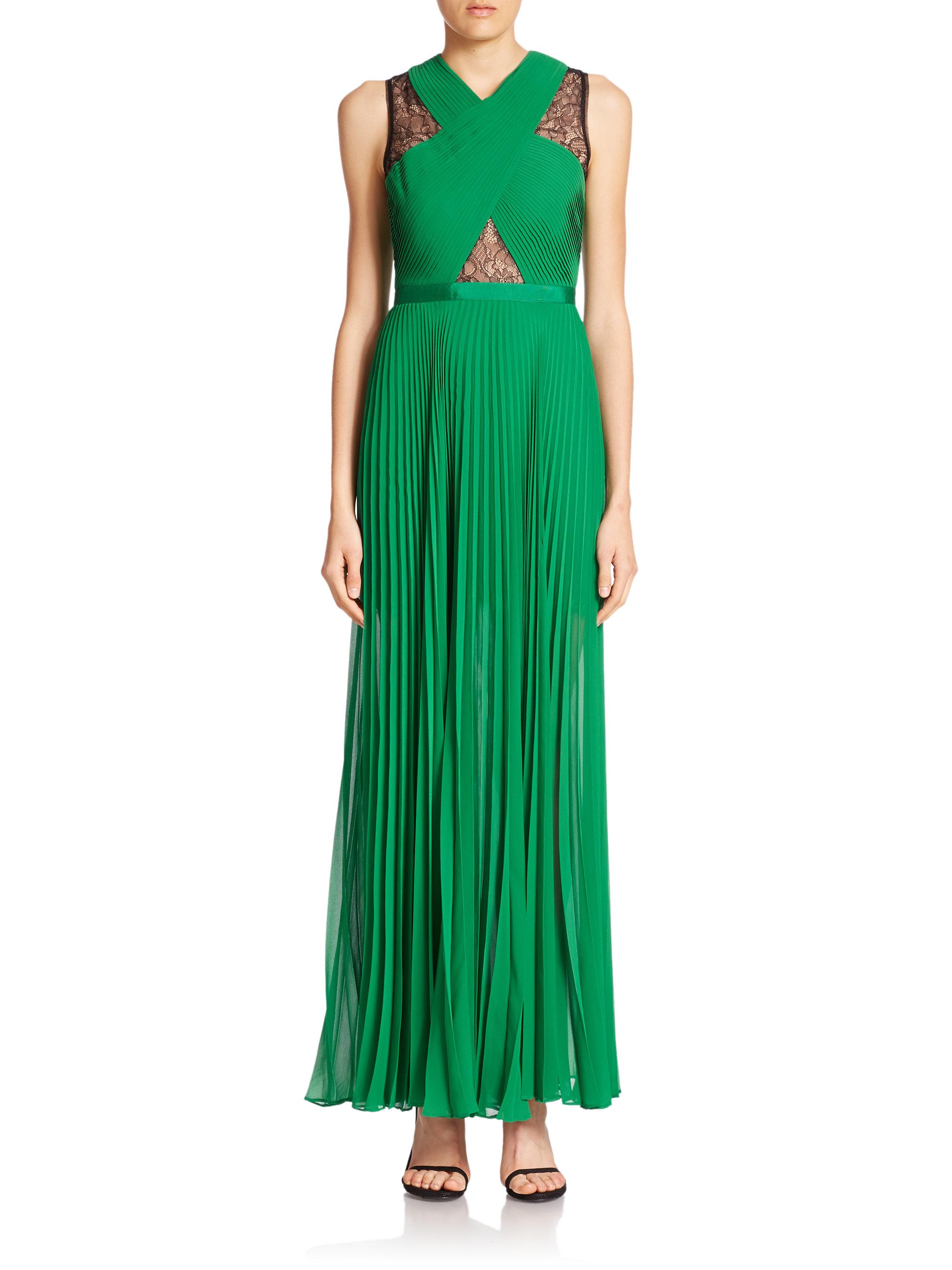 4ee7404e90ce BCBGMAXAZRIA Caia Pleated Illusion Dress in Green - Lyst