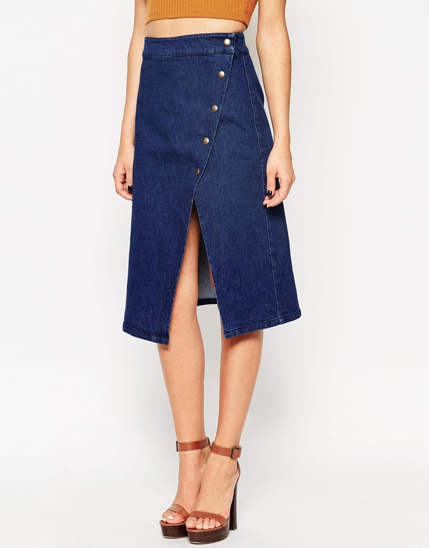 asos denim wrap midi skirt with poppers in blue lyst