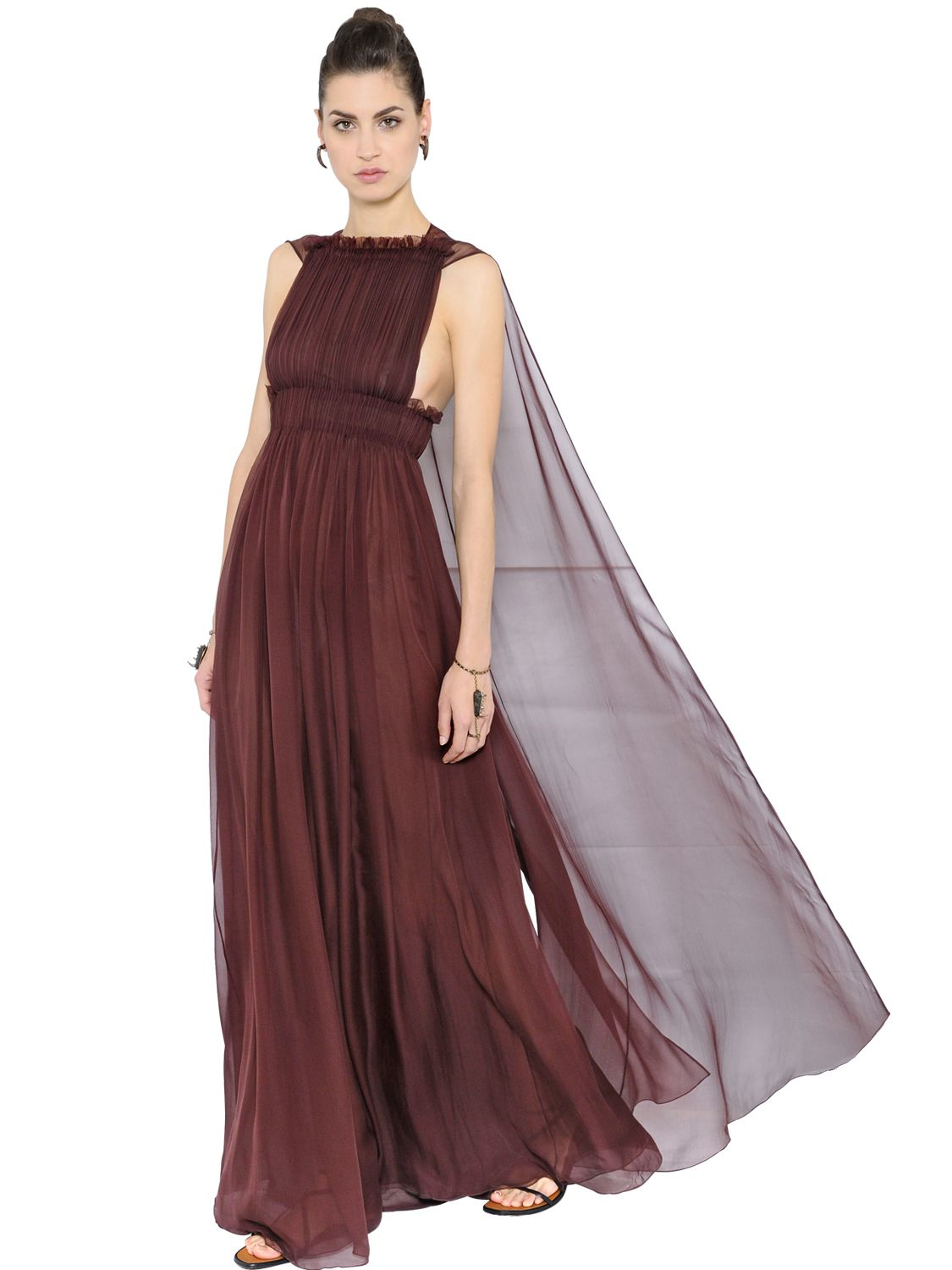 Valentino Silk Chiffon Dress With Cape in Purple | Lyst