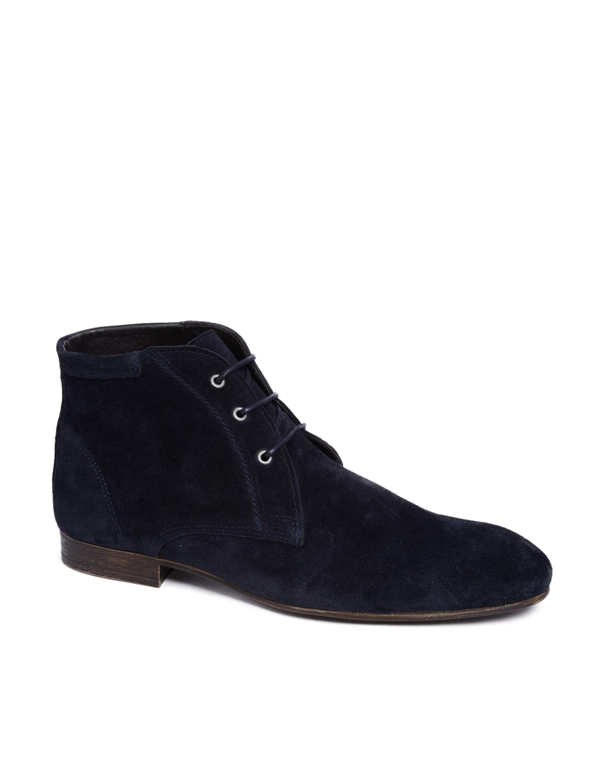 asos chukka boots in suede in blue for lyst