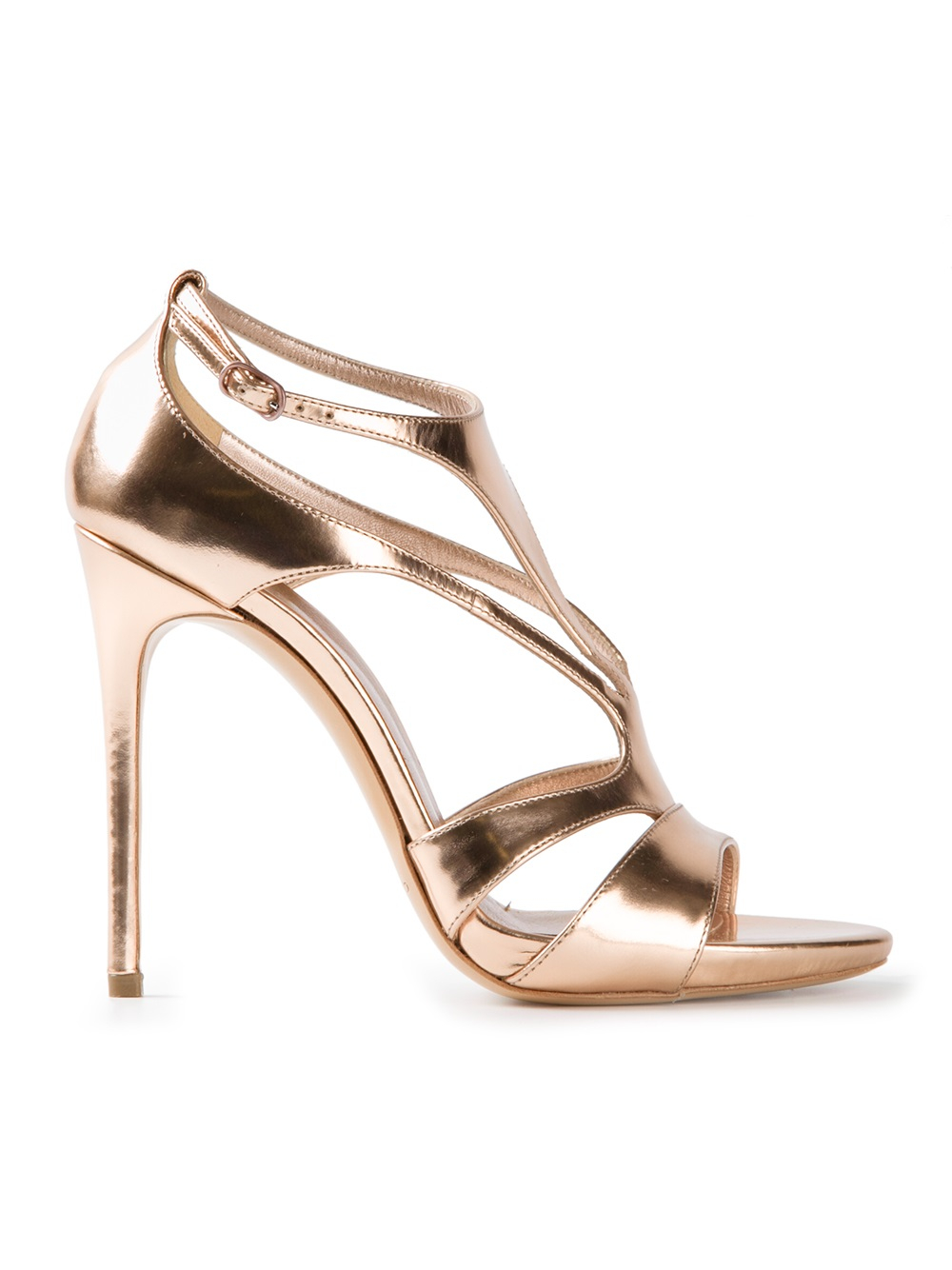 Casadei Strappy High Heel Sandals in Metallic | Lyst