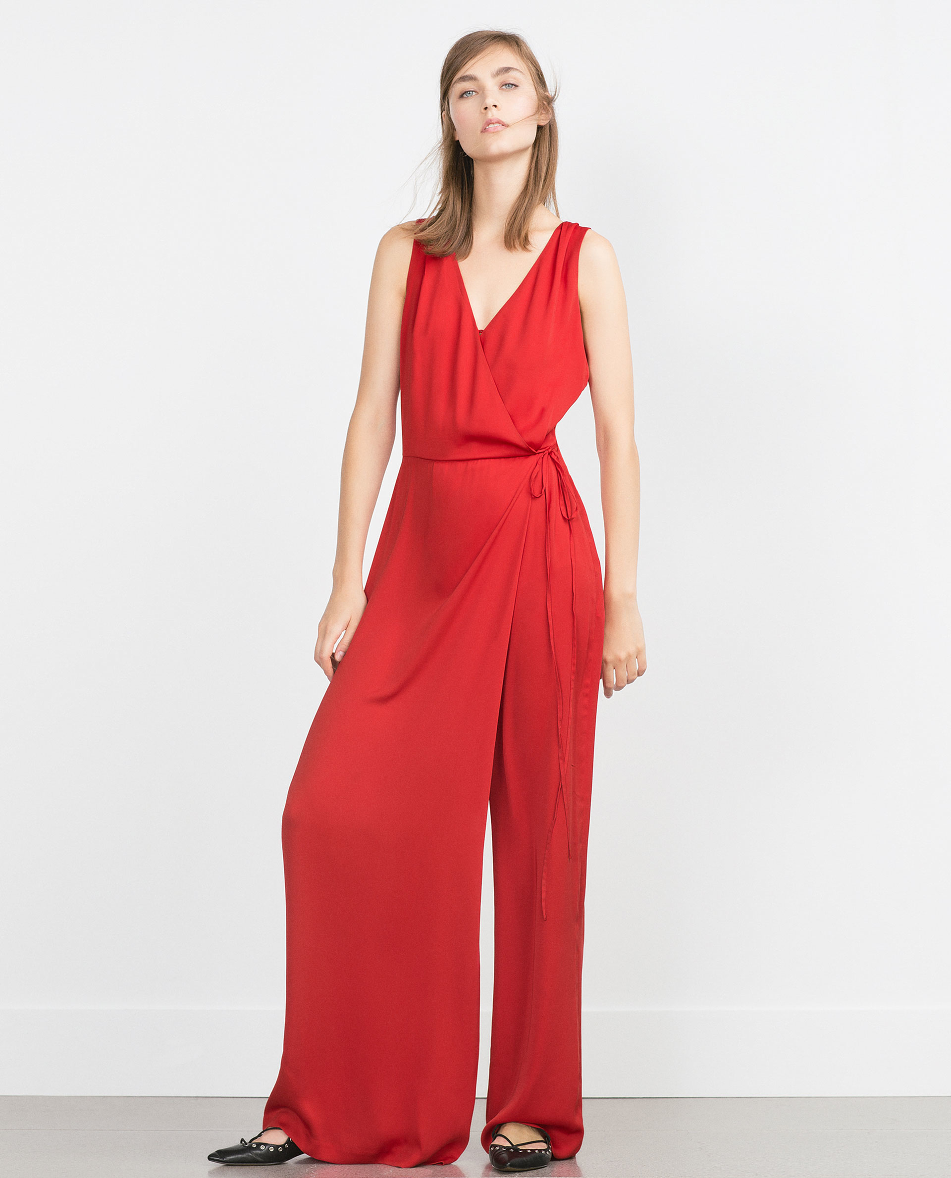 zara crossover jumpsuit in red lyst. Black Bedroom Furniture Sets. Home Design Ideas