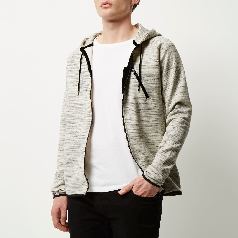 River Island Cotton Grey Zip Pocket Hoodie in Grey for Men