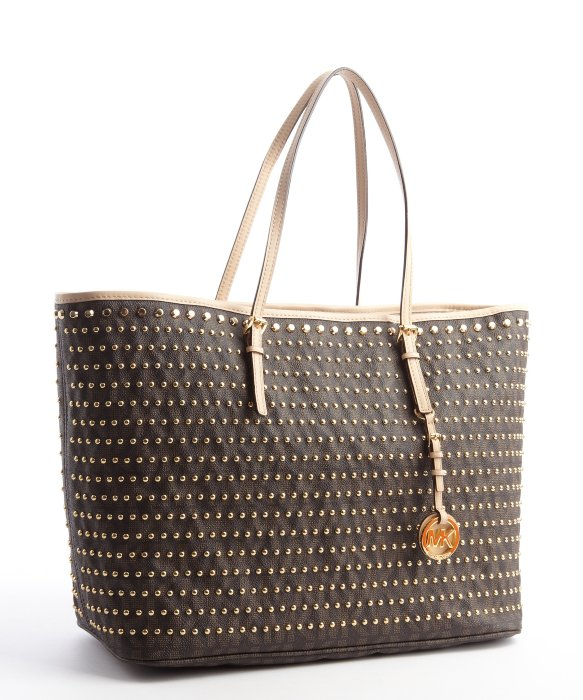 Michael michael kors Brown Studded Leather Medium Jet Set Tote Bag ...