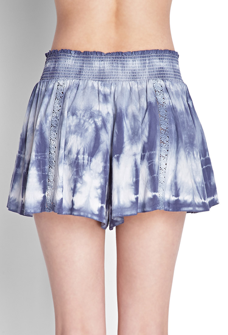 Forever 21 Flowy Tie-dyed Shorts in Blue | Lyst