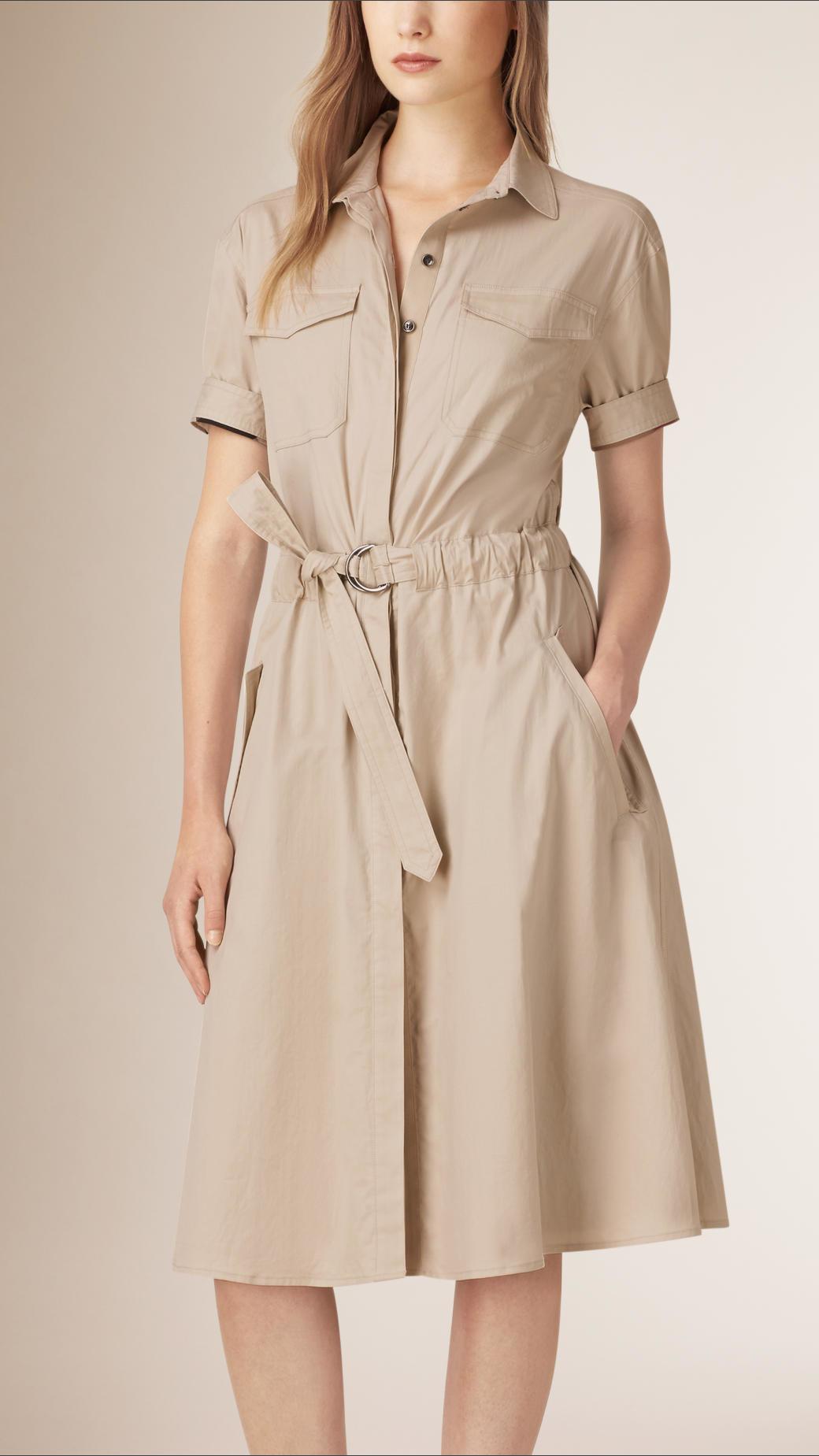 d4562e13f48b Lyst - Burberry Cotton Military Shirt Dress in Gray