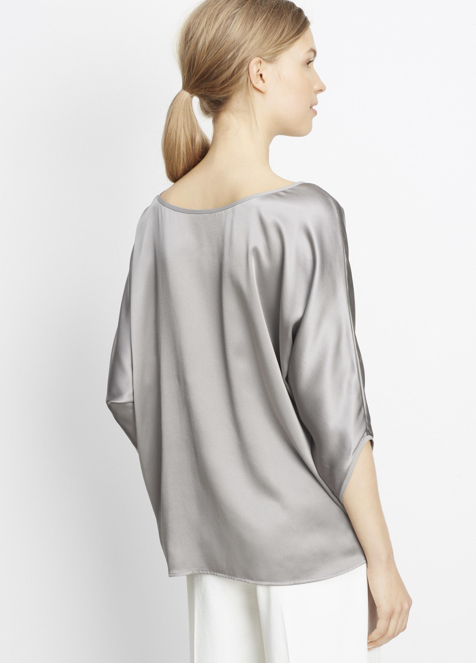 c39c11e48ca2a Lyst - Vince Silk Satin Envelope Sleeve Blouse in Metallic