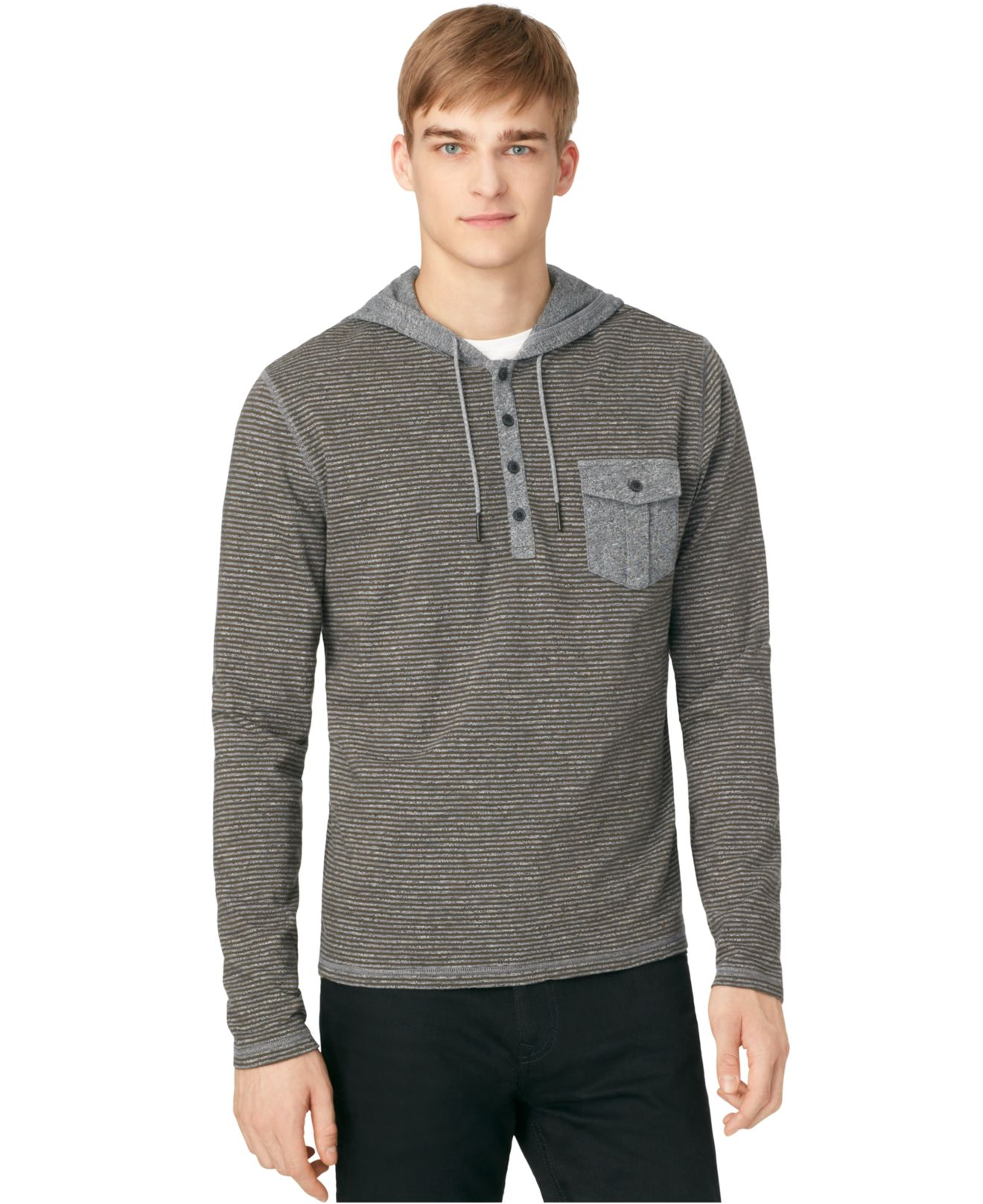 calvin klein jeans striped hoodie in gray for men lyst. Black Bedroom Furniture Sets. Home Design Ideas