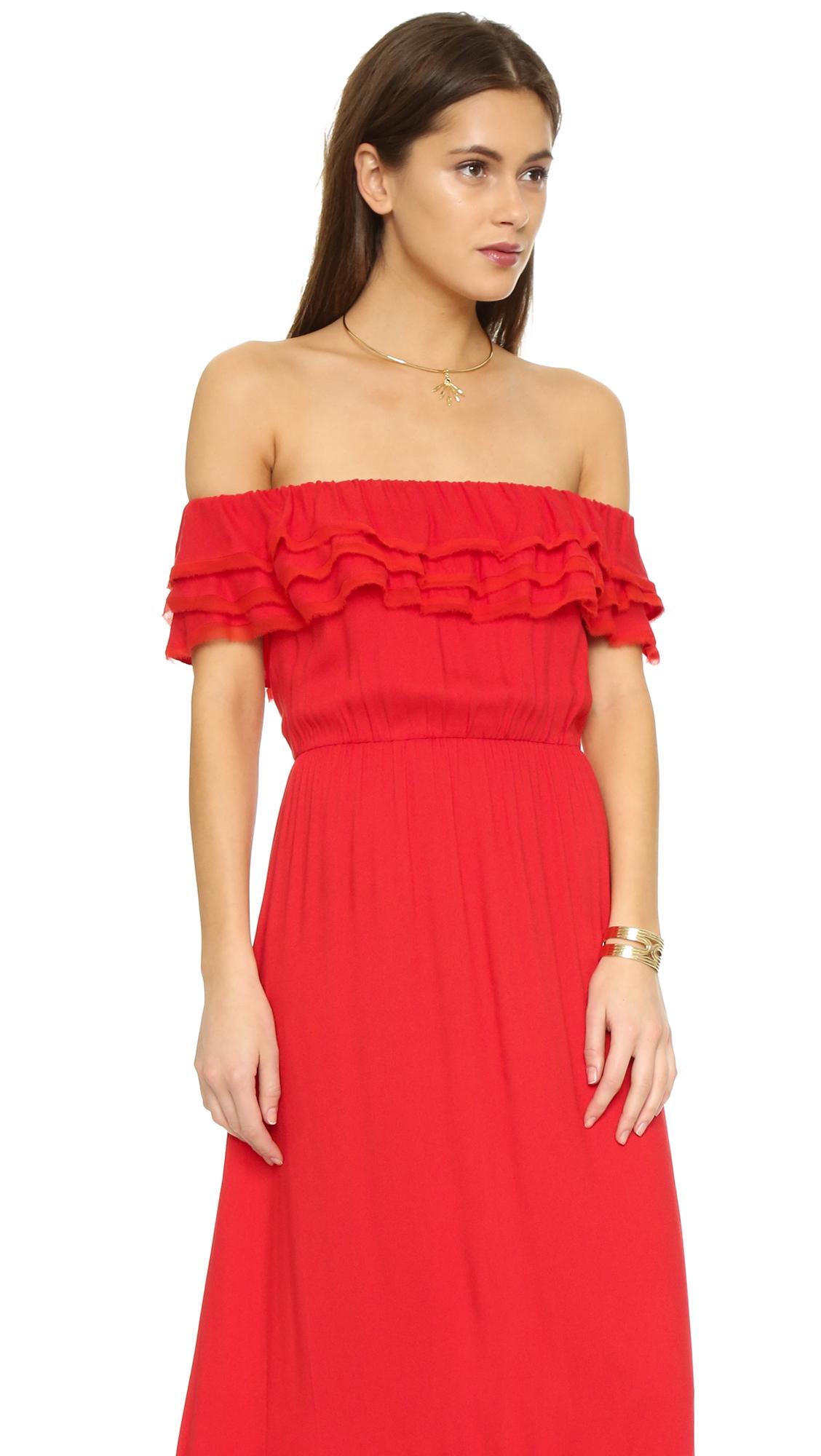 Lyst - Alice + Olivia Cheri Off Shoulder Maxi Dress in Red 0123a1e6a