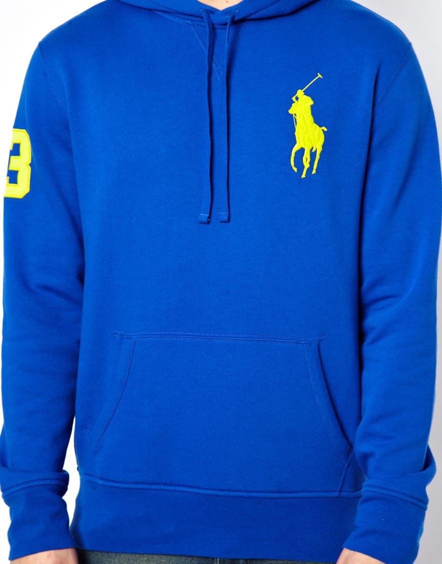 polo ralph lauren hoodie with big logo in blue for men lyst. Black Bedroom Furniture Sets. Home Design Ideas
