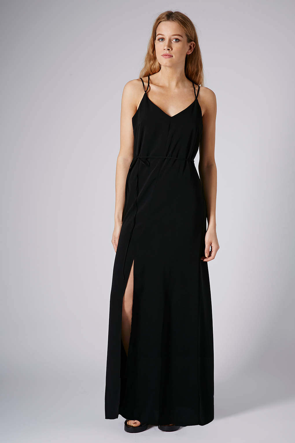 Topshop Strappy Cross Back Maxi Dress In Black Lyst