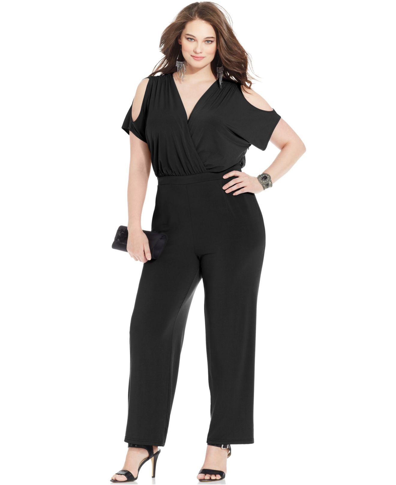 e6f711c94b3 Lyst - Spense Plus Size Cold-Shoulder Wide-Leg Jumpsuit in Black