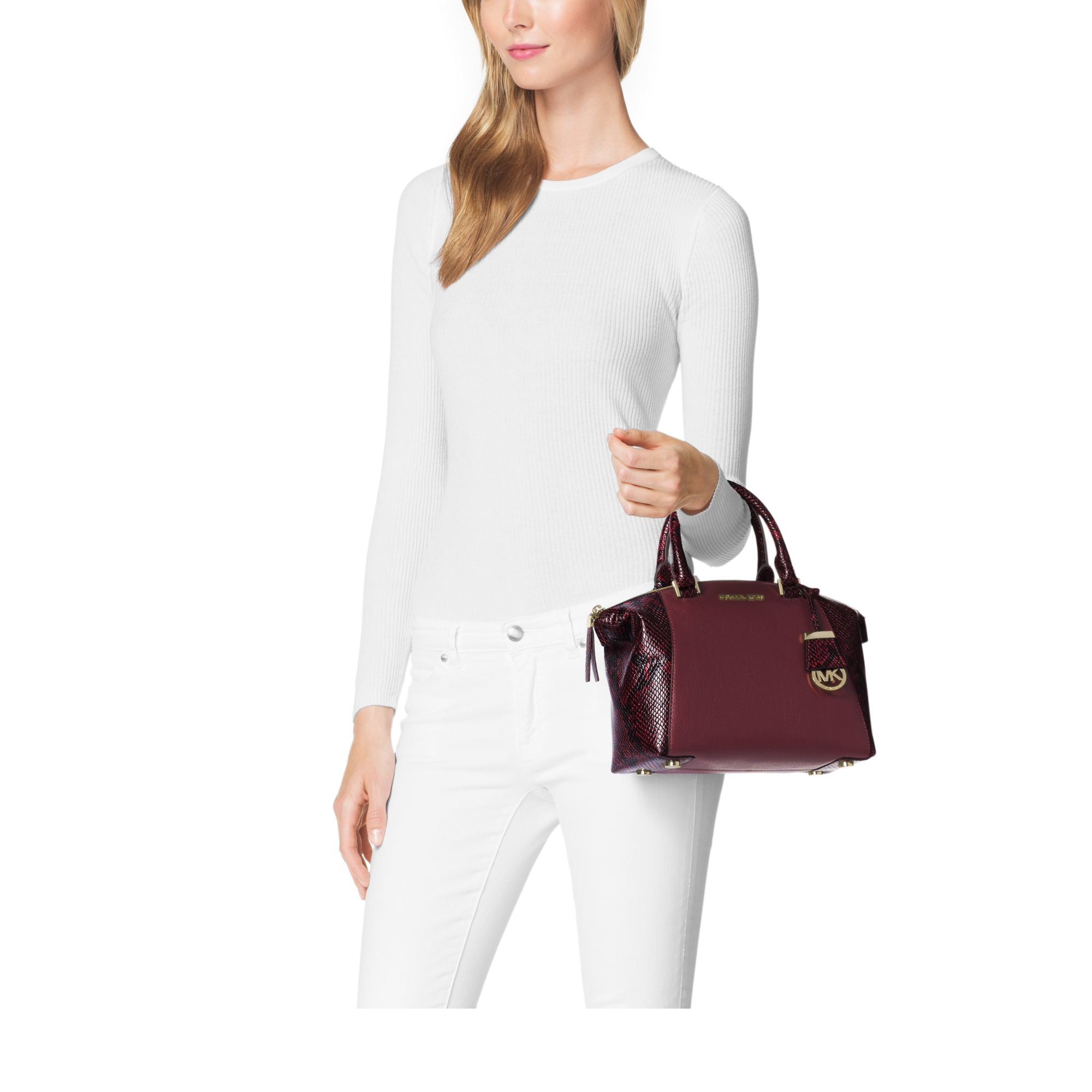 5f35909268cb Michael Kors Riley Small Embossed-trim Leather Satchel in Purple - Lyst