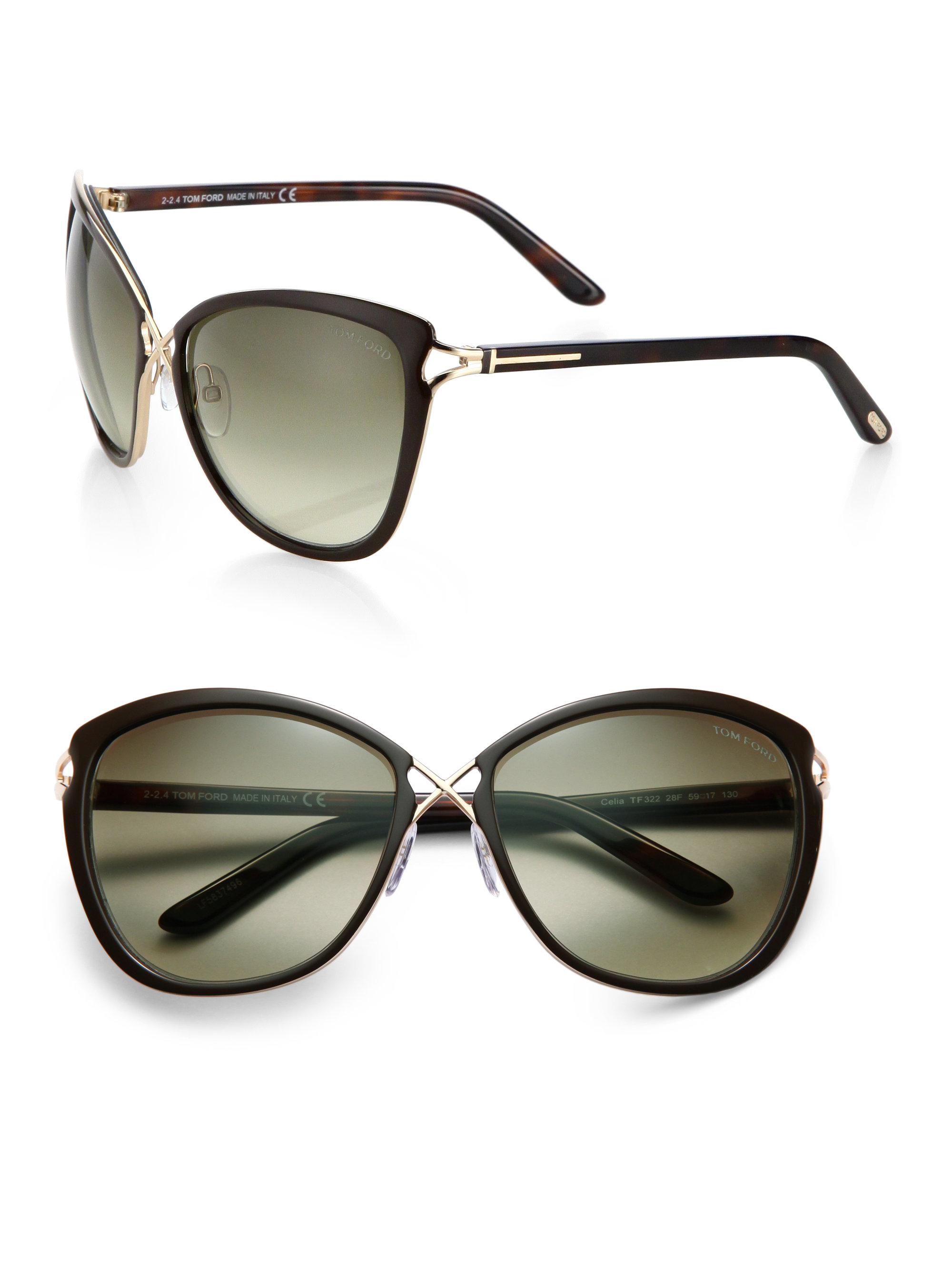 06c5561afac Tom ford Criss-cross 59mm Butterfly Sunglasses in Black for Men
