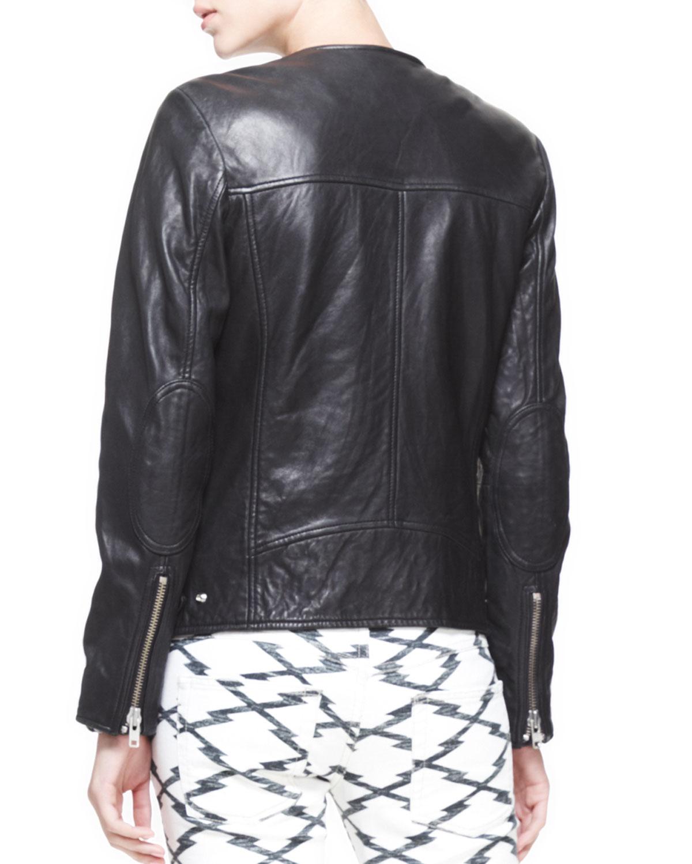 201 Toile Isabel Marant Bradi Zipfront Leather Jacket In