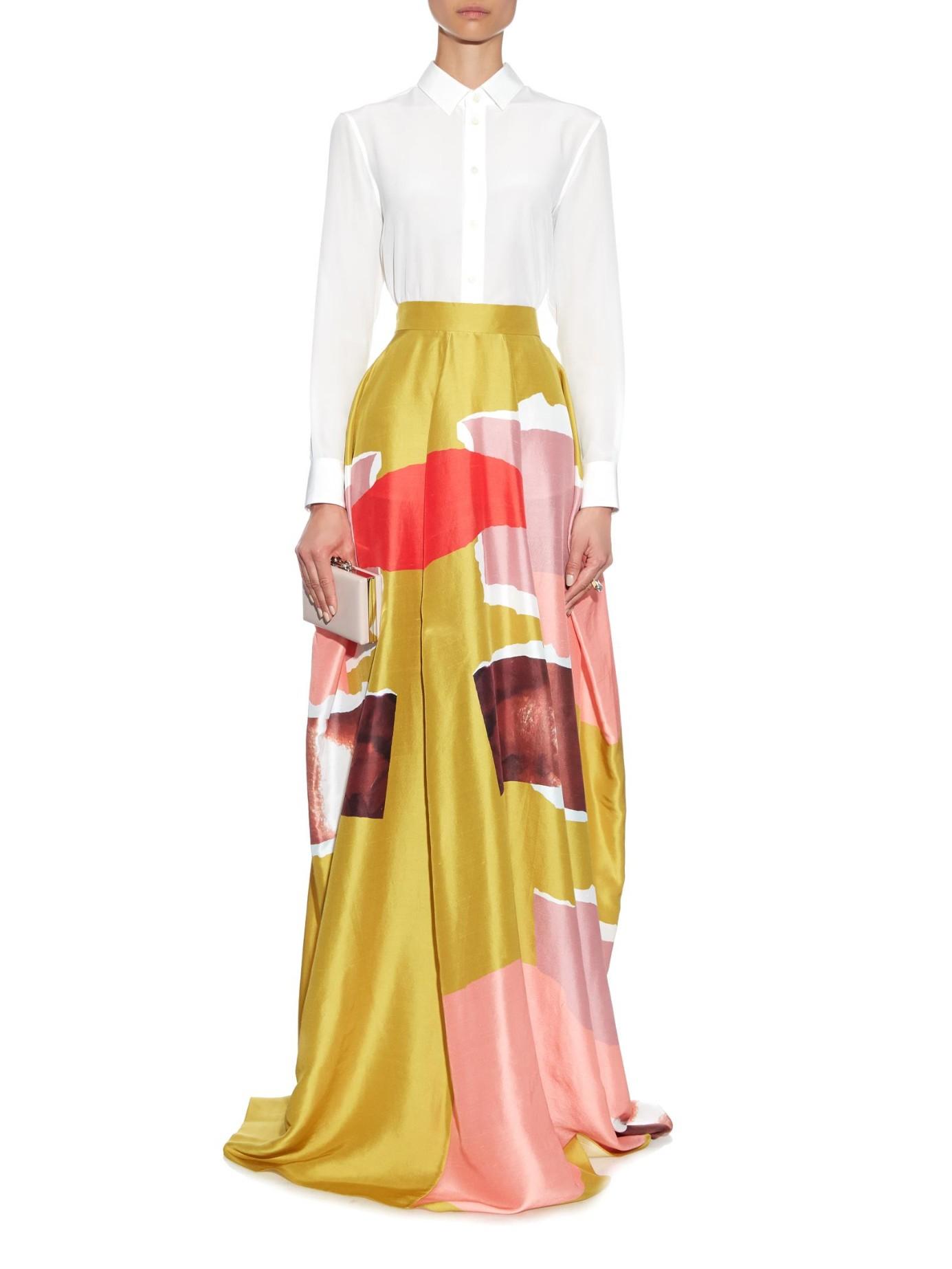 Roksanda Rawson Torn-paper Print Silk Maxi Skirt in Yellow | Lyst