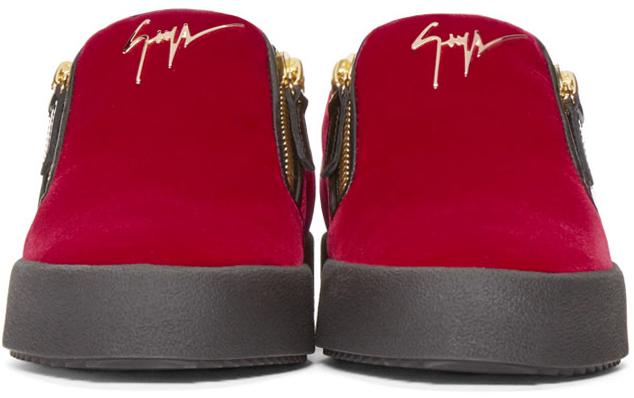 52f9a05a520a Lyst - Giuseppe Zanotti Ssense Exclusive Red   Black Velour Slip-on ...