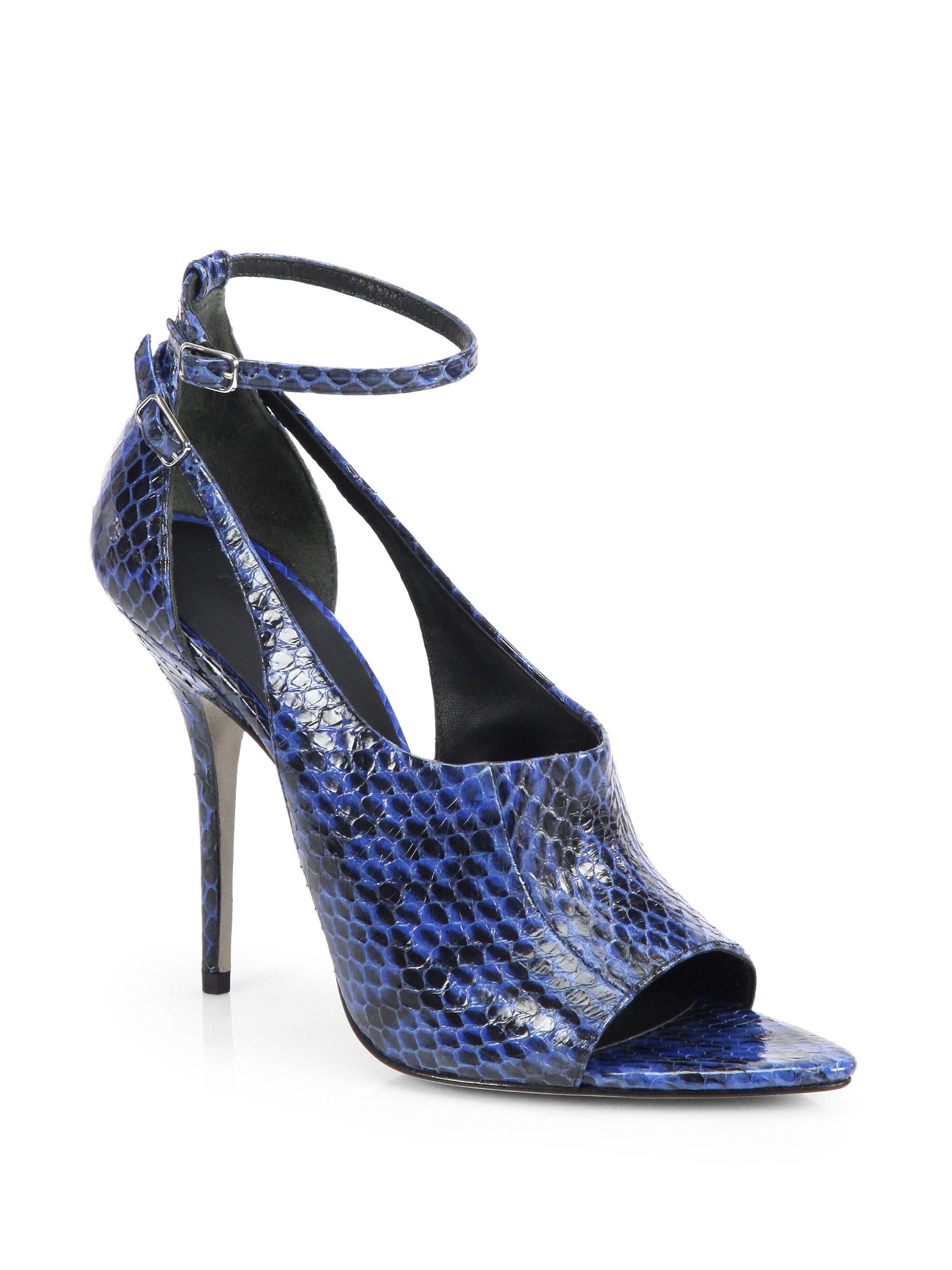 88bdac19ffe Alexander Wang Blue Carolyn Snakeskin Anklestrap Sandals