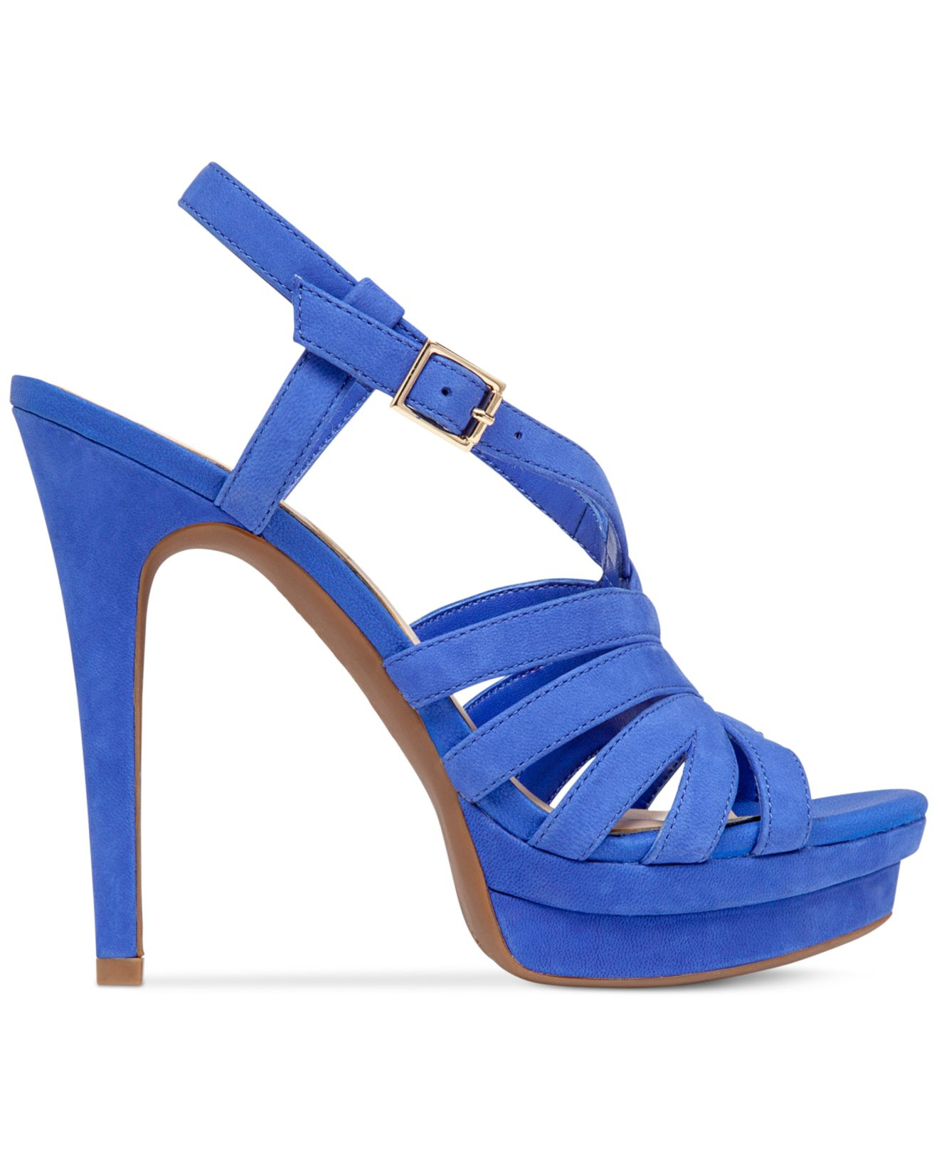 peace caged platform sandals in blue lyst