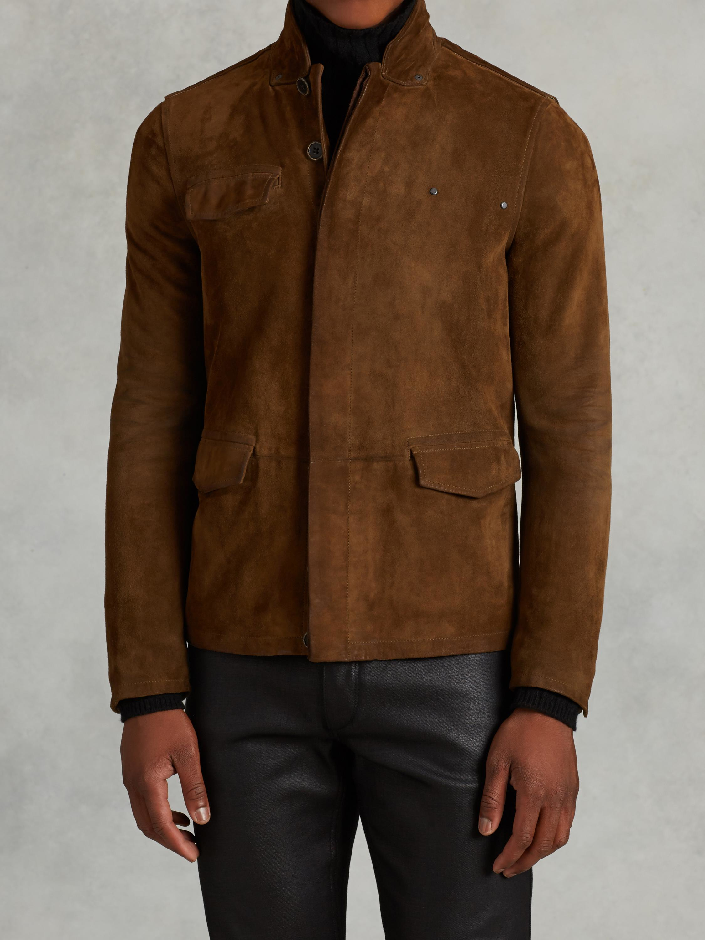 John varvatos Suede Jacket With Rivet Detail in Brown for Men | Lyst