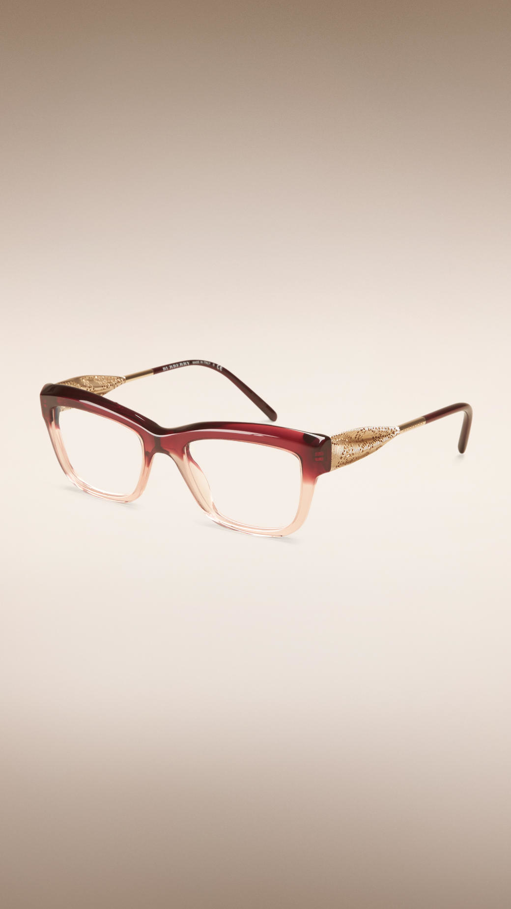 bb3d36deba Burberry Gabardine Lace Collection Cat-eye Optical Frames Dark Military Red  in Red - Lyst