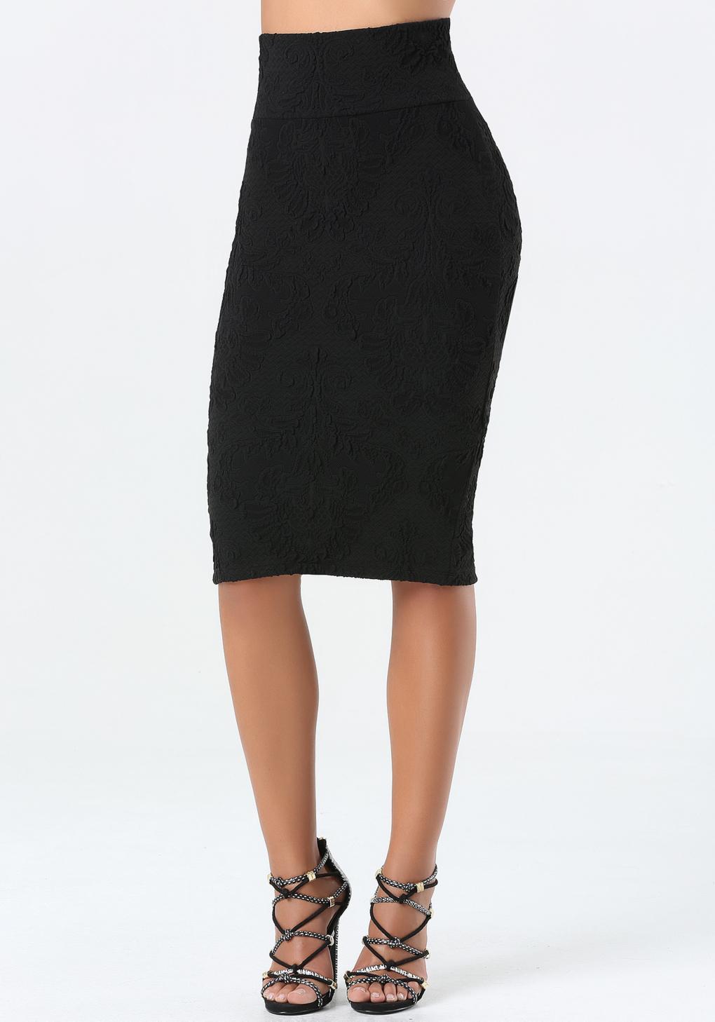 bebe jacquard midi skirt in black lyst