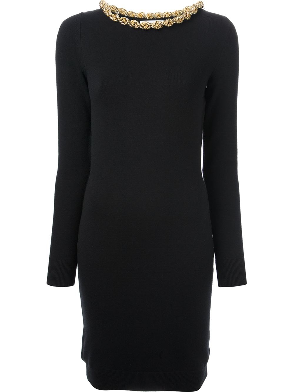 Lyst Moschino Chain Embellished Sweater Dress In Black