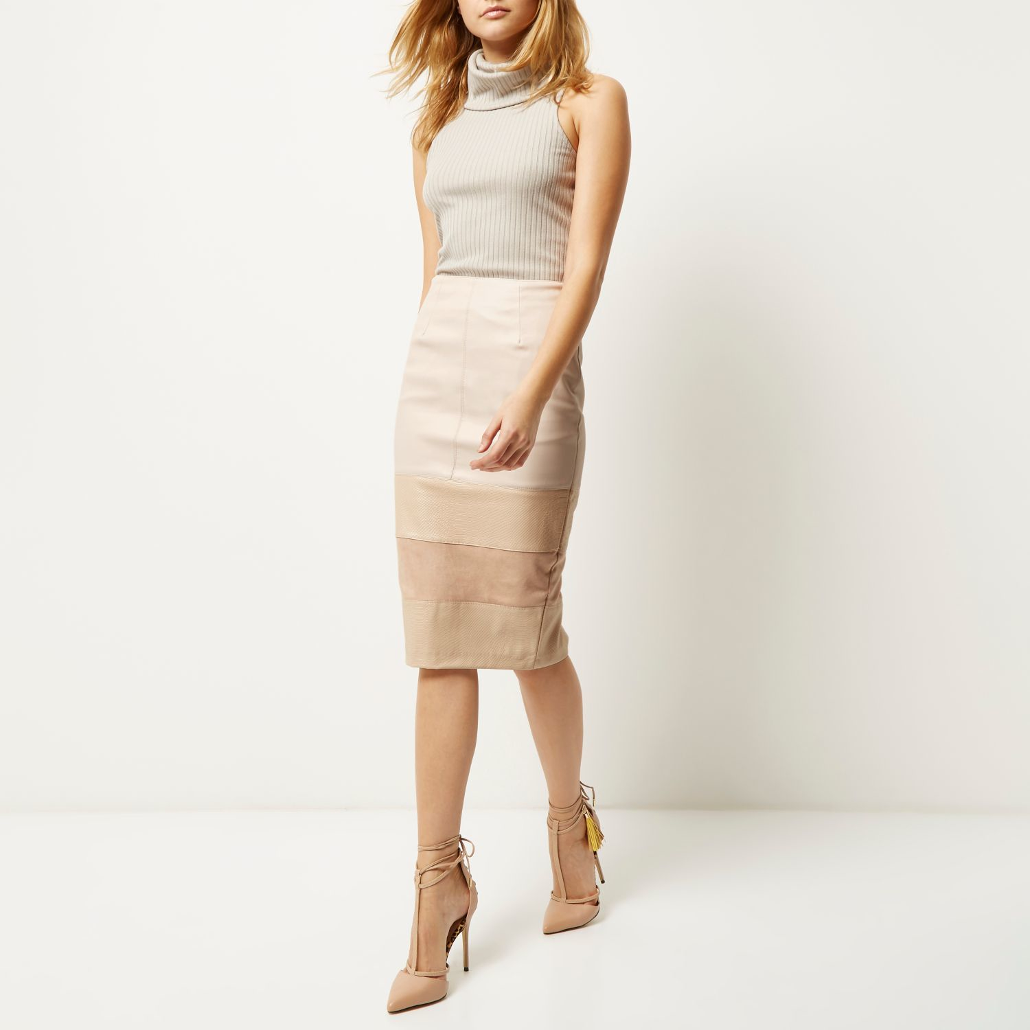 River island Nude Pink Block Panel Pencil Skirt in Natural | Lyst