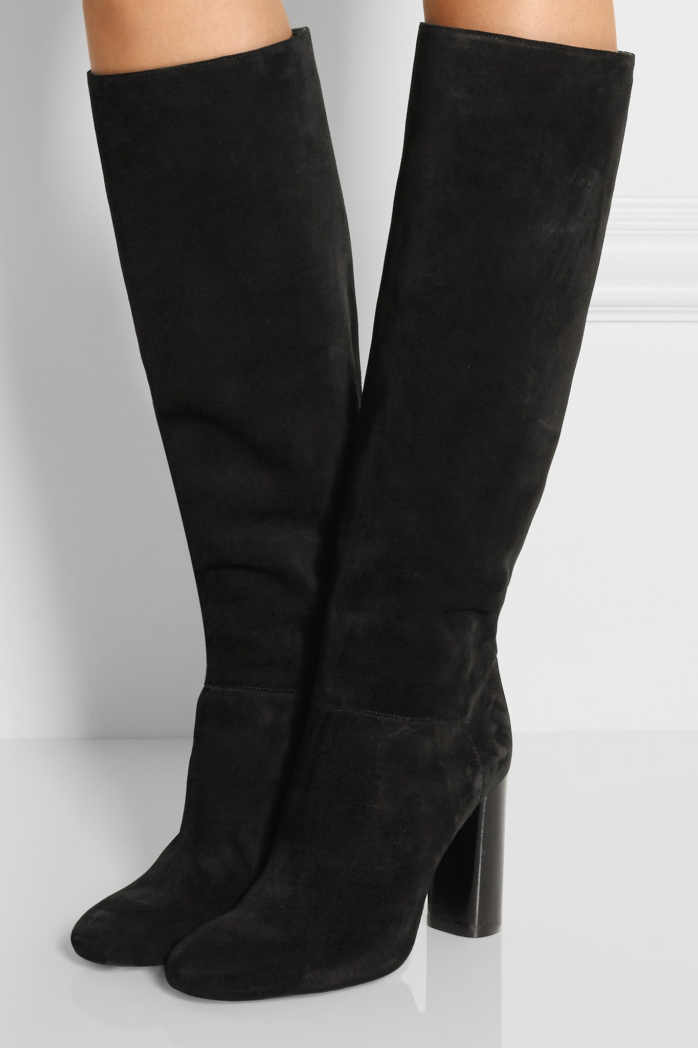 Lanvin Suede Knee Boots In Black  Lyst-9778
