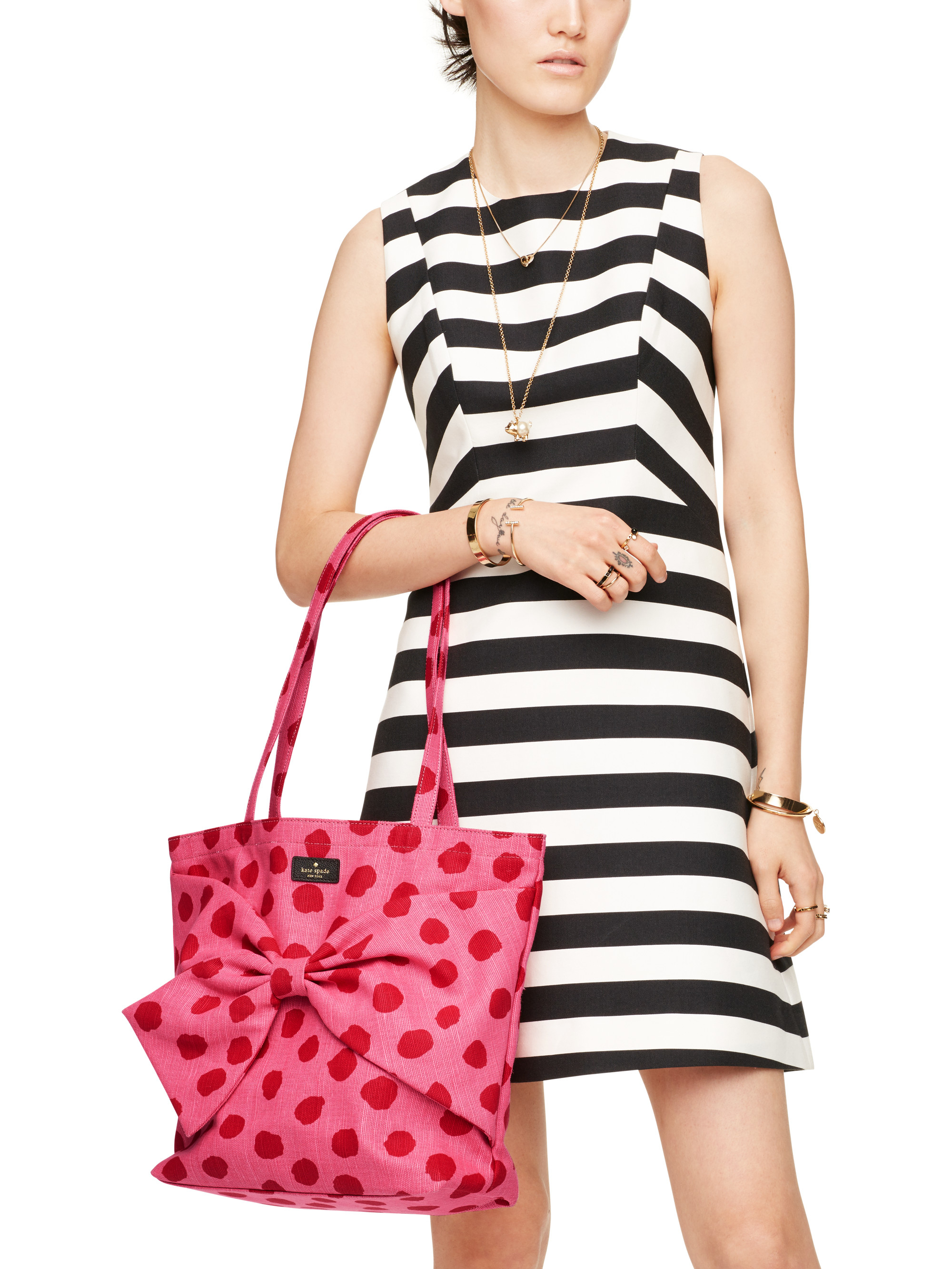 Kate Spade On Purpose Canvas Tote in Pink Dot (Pink)