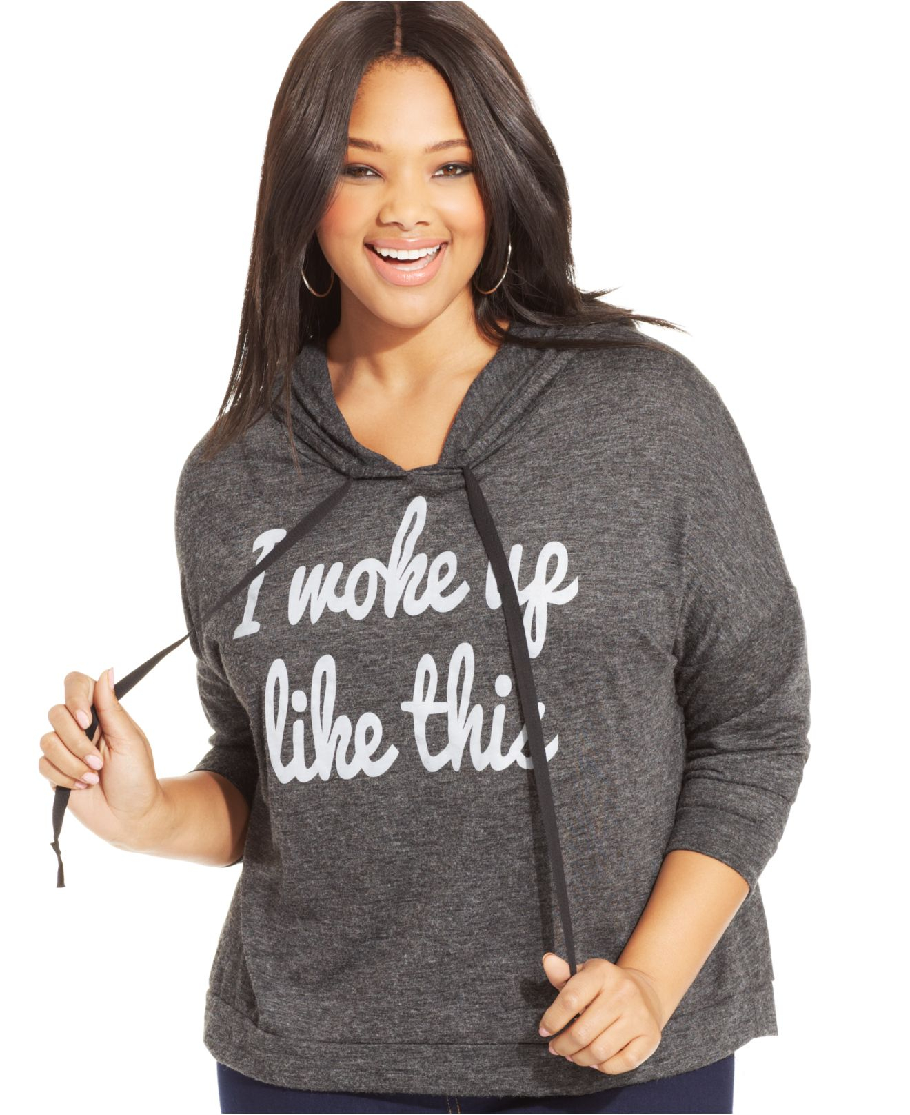 soprano plus size graphic hoodie in gray | lyst