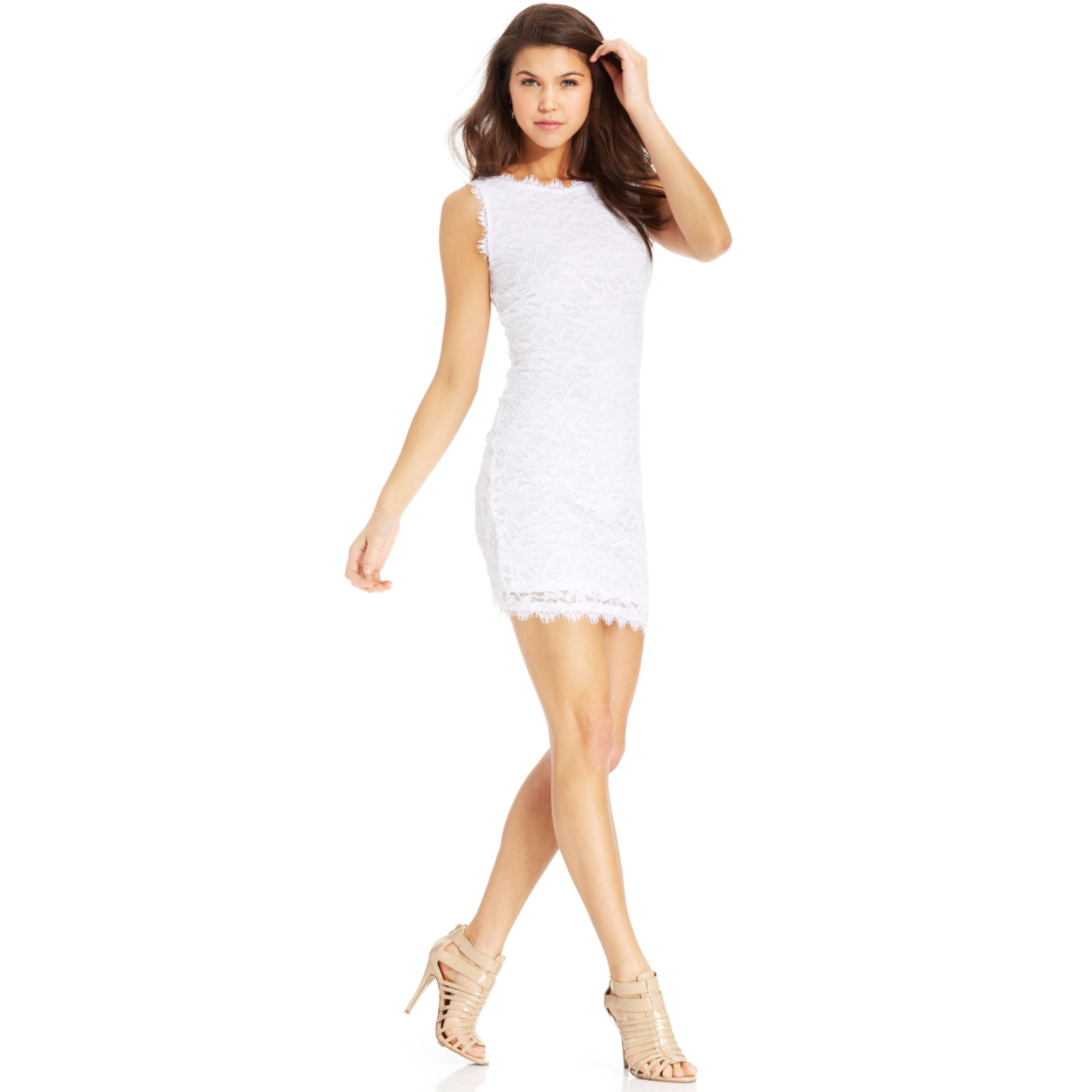 Lyst - Jump Juniors Sleeveless Lace Dress in White