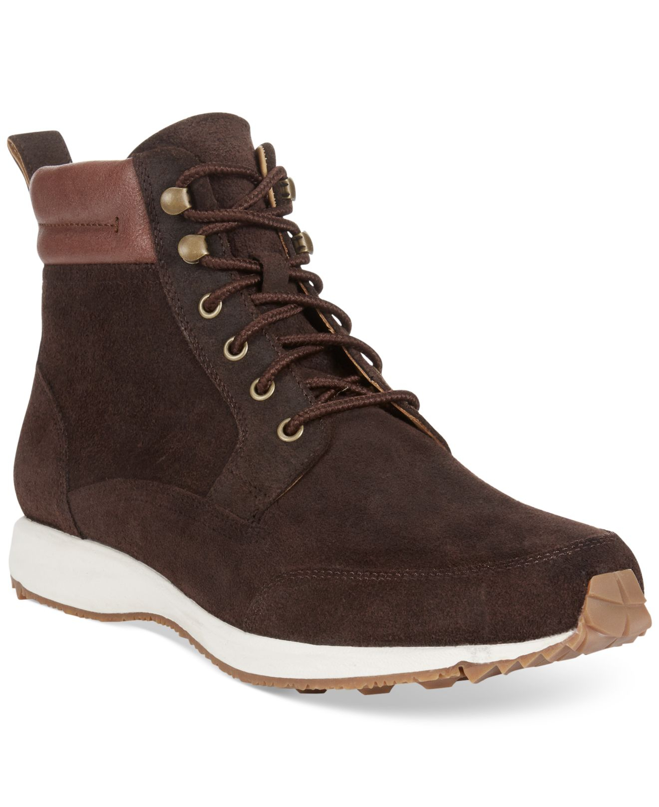 cole haan branson sneaker boots in brown for lyst