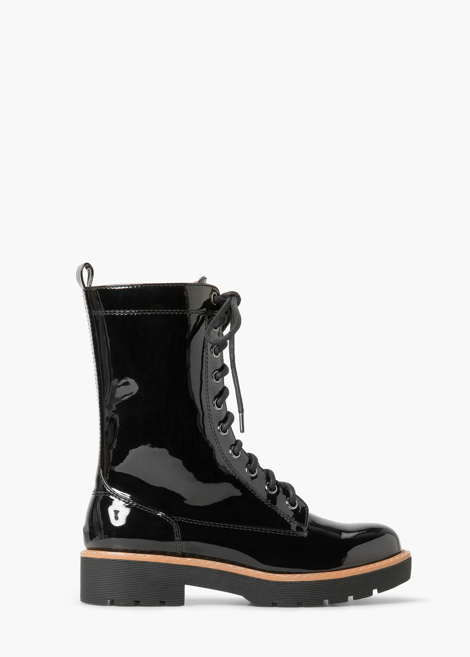 Mango Lace Up Patent Leather Effect Ankle Boots In Black