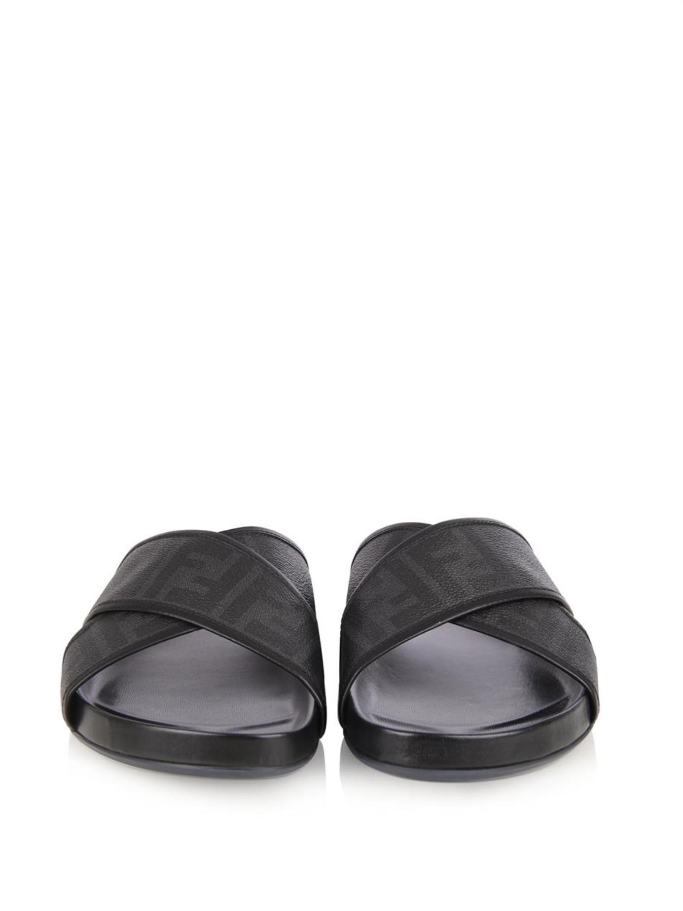 Lyst Fendi Logo Leather Slides In Black For Men