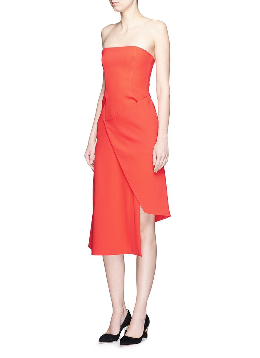 7898589f40d37 Nicholas Wrap Front Bonded Crepe Bandeau Dress in Orange - Lyst
