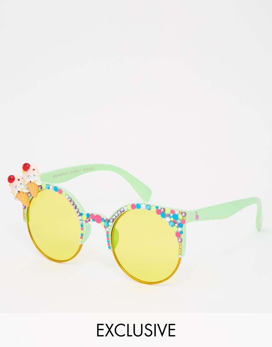 Yum Sunglasses  spangled cherry on top yum yum sunglasses in yellow lyst