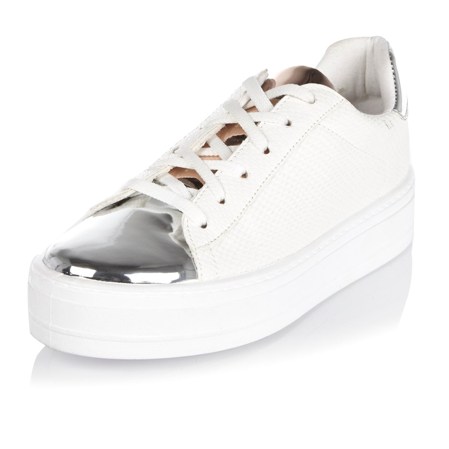 Free Shipping Purchase Womens White diamante trim plimsolls River Island Official Site Cheap Online Shop Offer Cheap Online Popular For Sale o3vIEl