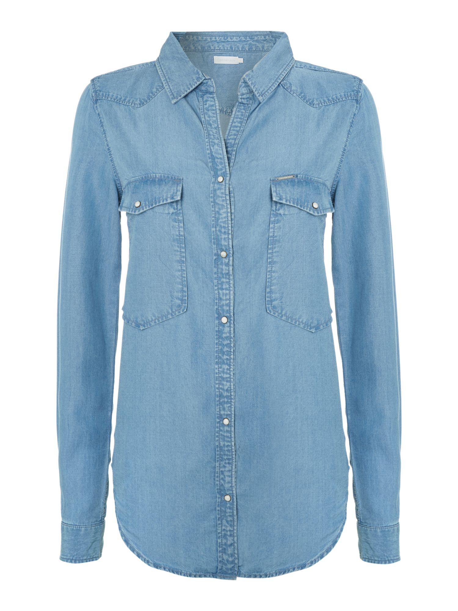 calvin klein whisper long sleeve denim shirt in blue lyst. Black Bedroom Furniture Sets. Home Design Ideas