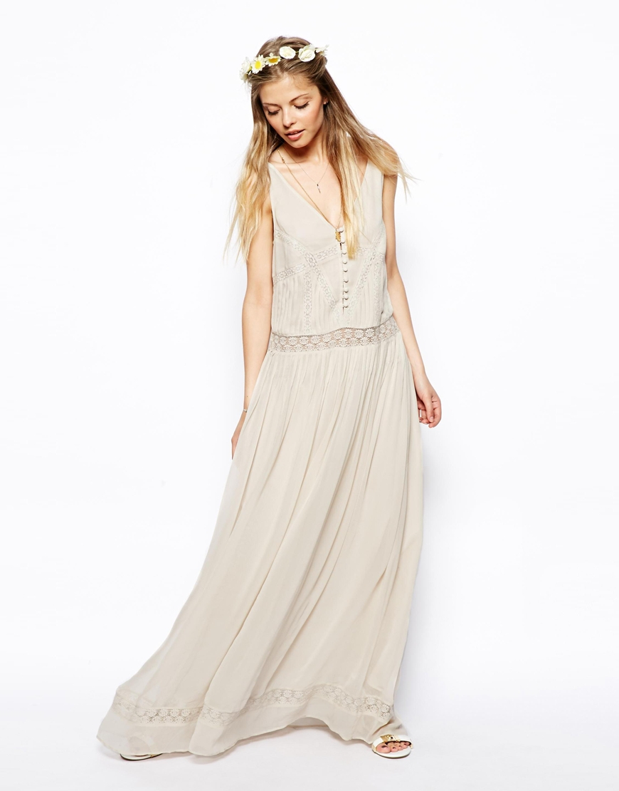 Asos premium maxi dress with vintage lace inserts in beige for Asos vintage wedding dresses