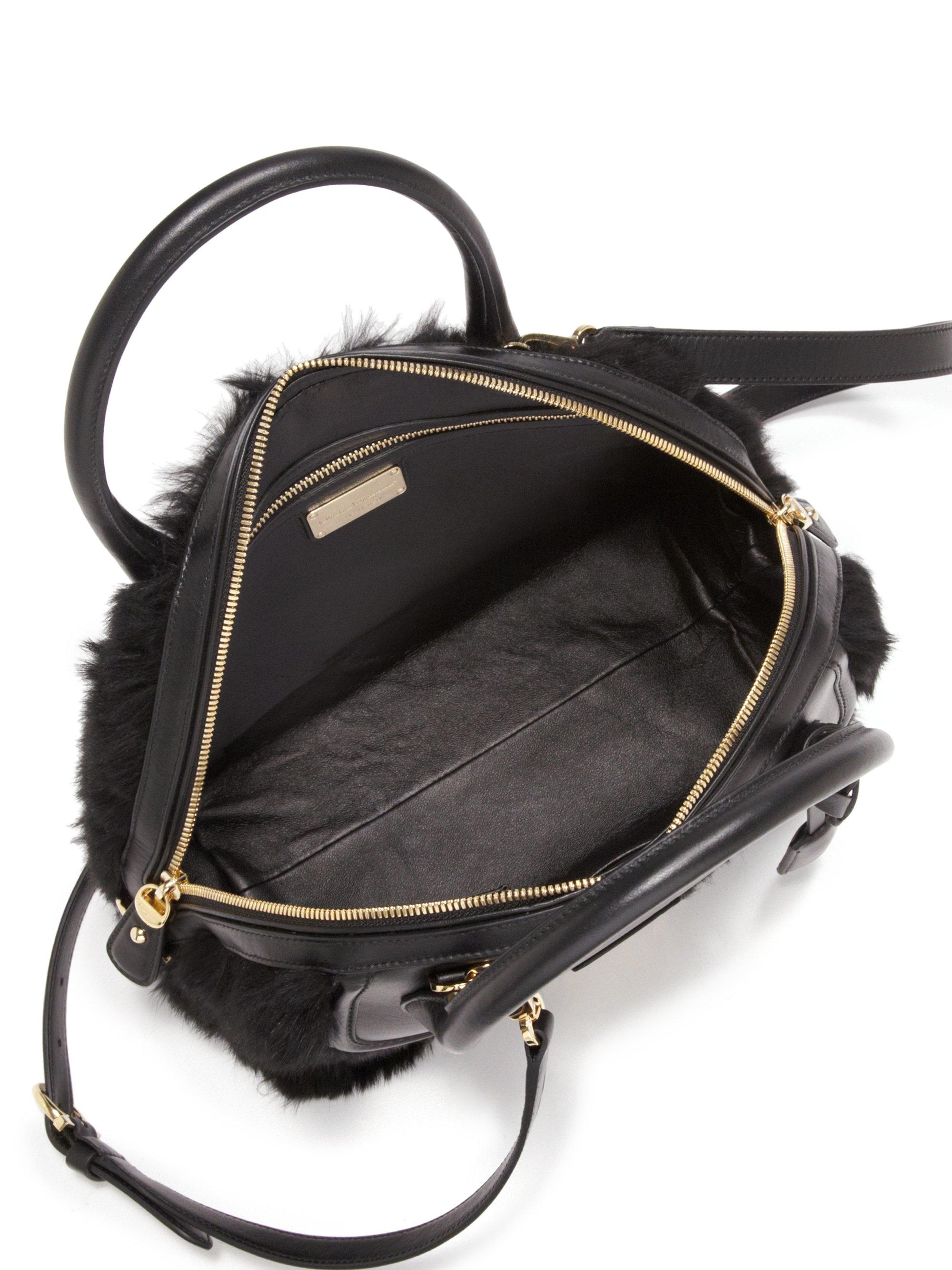 Lyst - Ferragamo Fiamma Medium Leather   Rabbit Fur Satchel in Black 4f48cc38cd641
