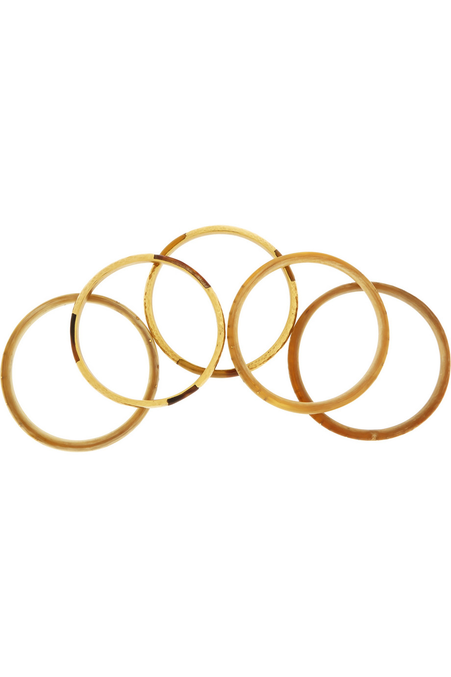 Ashley Pittman Nuru Set Of Five Horn And Gold-Tone Bangles in Brown (Metallic)