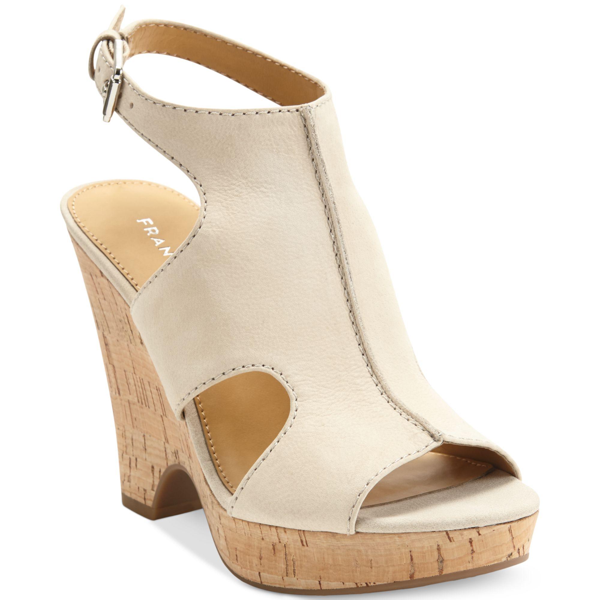 Lyst Franco Sarto Glamour Platform Wedge Sandals In Natural