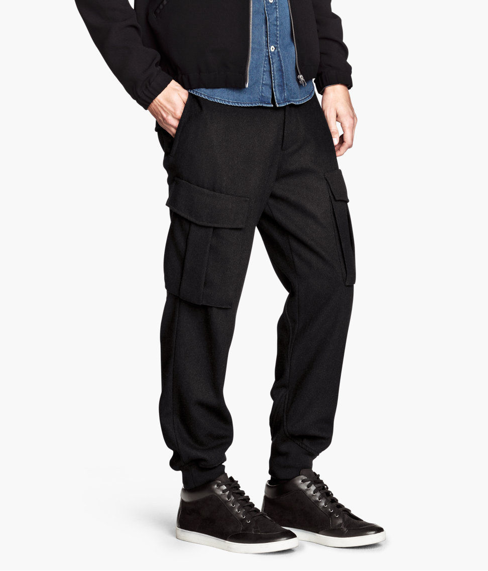 H&m Cargo Pants in A Wool Mix in Black for Men | Lyst