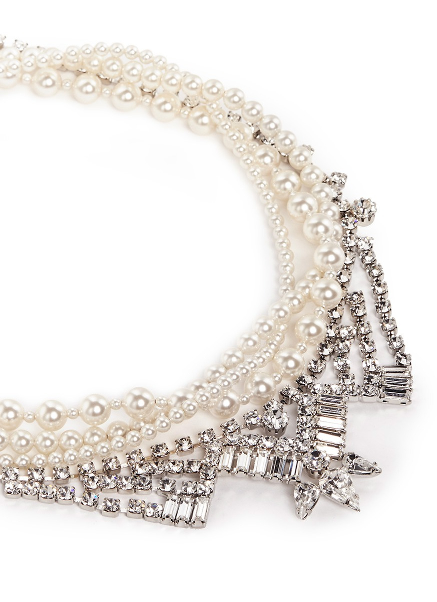Joomi Lim 'rebel Romance' Faux Pearl Crystal Collar Necklace in White,Metallic (White)