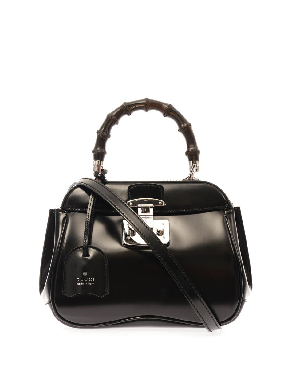 Lyst Gucci Lady Lock Mini Leather And Bamboo Bag In Black